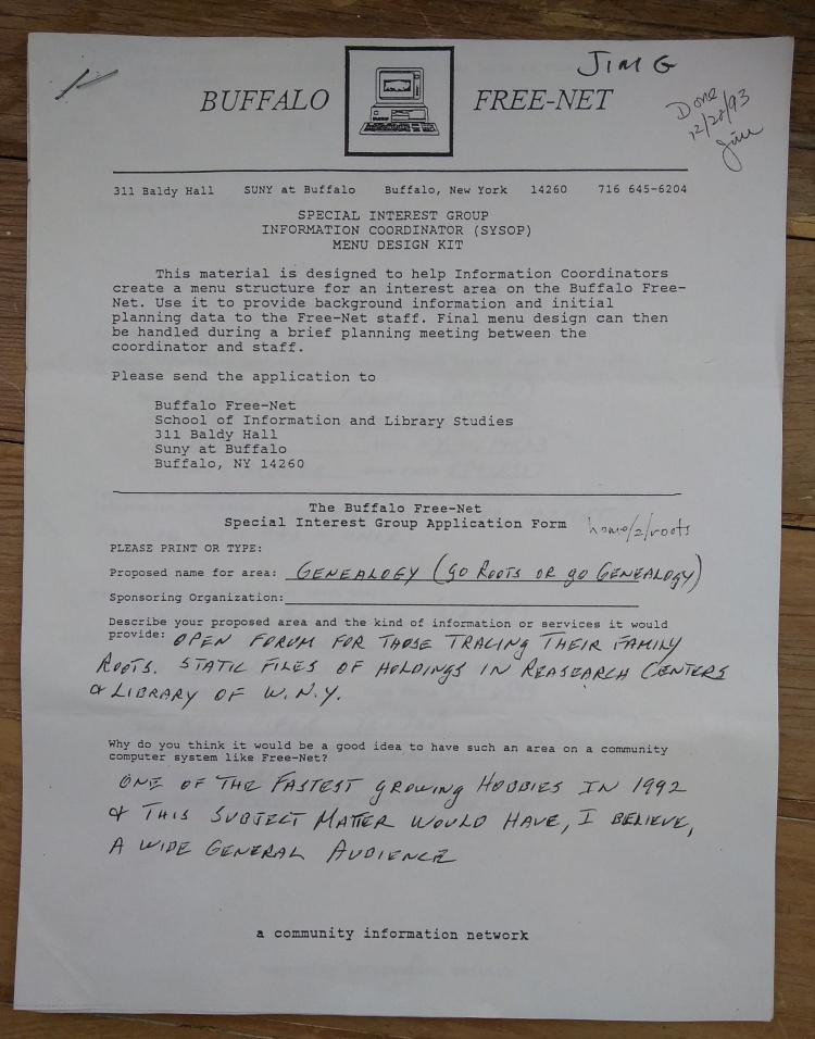 Roots application form, 1993